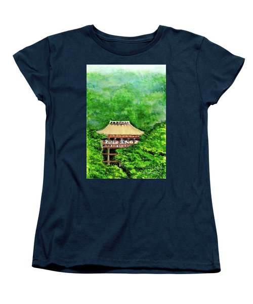 Women's T-Shirt (Standard Cut) featuring the painting Up High Temple by Yoshiko Mishina