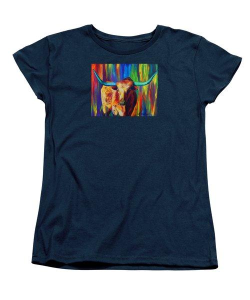 Women's T-Shirt (Standard Cut) featuring the painting Uptown Longhorn by Karen Kennedy Chatham