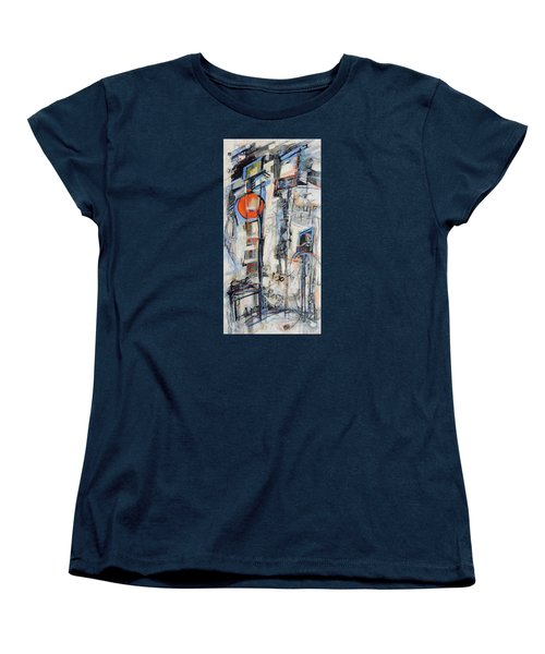 Women's T-Shirt (Standard Cut) featuring the painting Urban Street 1 by Mary Schiros