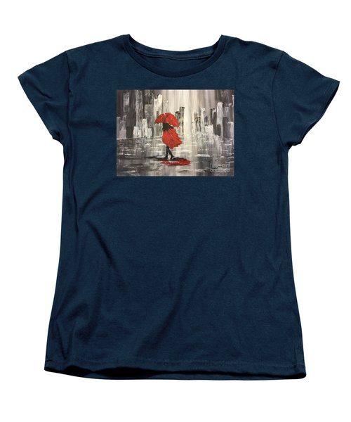 Urban Walk In The Rain Women's T-Shirt (Standard Cut) by Lucia Grilletto