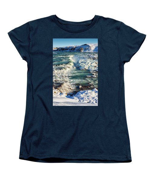 Urridafoss Waterfall Iceland Women's T-Shirt (Standard Cut) by Matthias Hauser