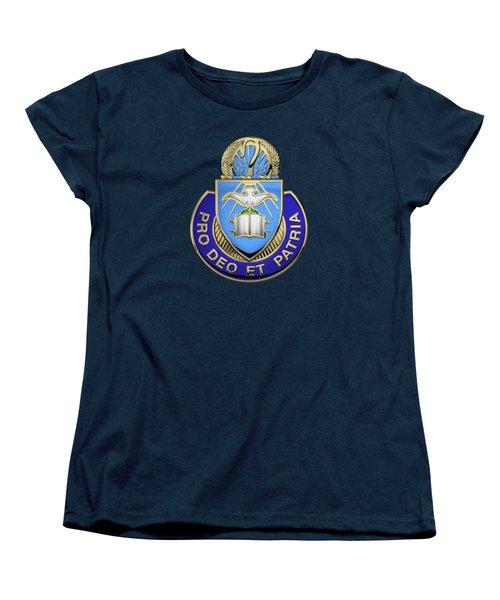 Women's T-Shirt (Standard Cut) featuring the digital art U. S. Army Chaplain Corps - Regimental Insignia Over Blue Velvet by Serge Averbukh