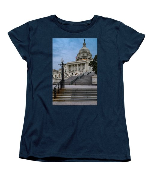 Women's T-Shirt (Standard Cut) featuring the photograph Us Capitol Building Twilight by Susan Candelario