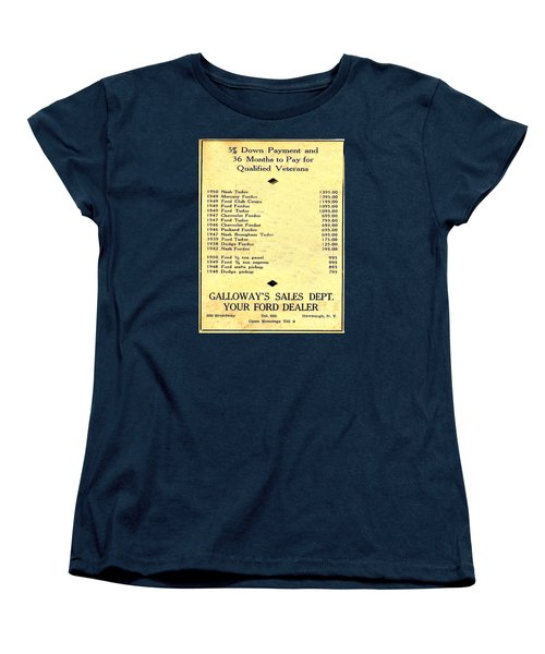 Used Car Prices In 1950 - Dealer's Advertisement Women's T-Shirt (Standard Cut) by Merton Allen