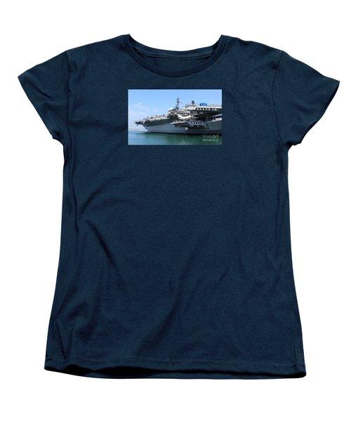 Women's T-Shirt (Standard Cut) featuring the photograph Uss Midway Carrier by Cheryl Del Toro