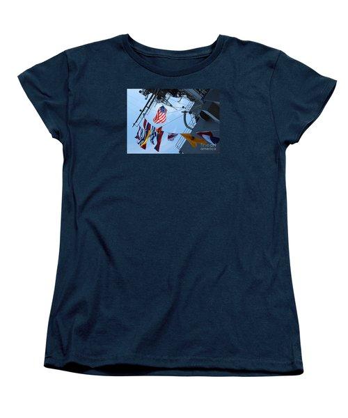Uss Midway Flag Women's T-Shirt (Standard Cut) by Cheryl Del Toro