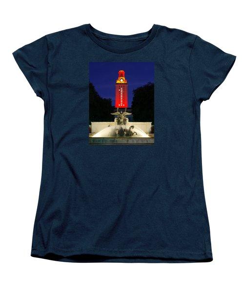 Women's T-Shirt (Standard Cut) featuring the photograph Ut Austin Tower Orange by Lisa  Spencer
