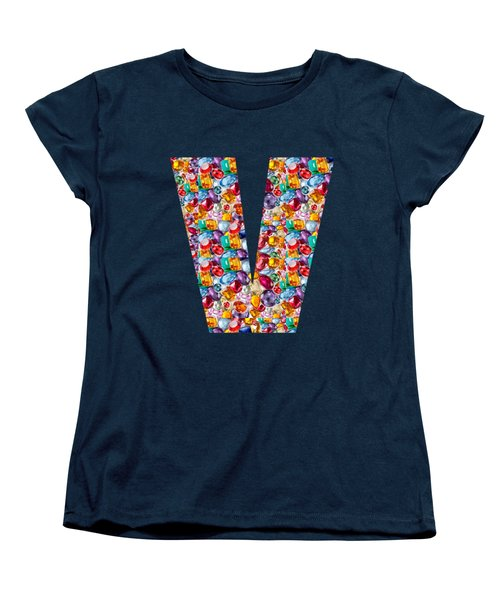 V Vv Vvv Jewels Alpha Art On Shirts Alphabets Initials   Shirts Jersey T-shirts V-neck   Navinjoshi  Women's T-Shirt (Standard Cut) by Navin Joshi