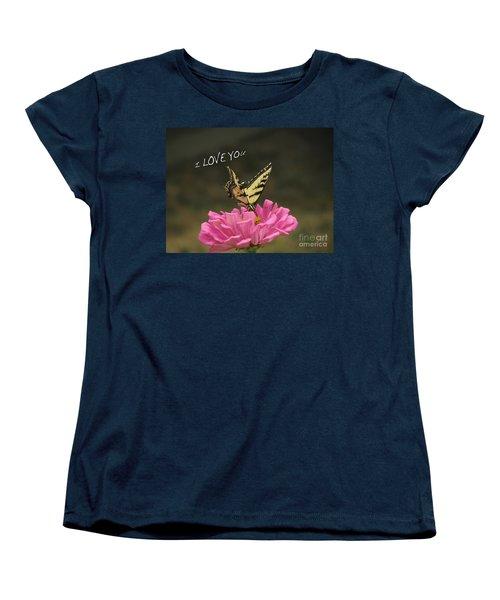 Valentine Zinnia And The Swallowtail Women's T-Shirt (Standard Cut) by Debby Pueschel