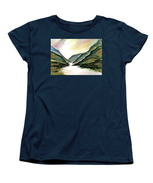 Women's T-Shirt (Standard Cut) featuring the painting Valley Of Water by Terry Banderas