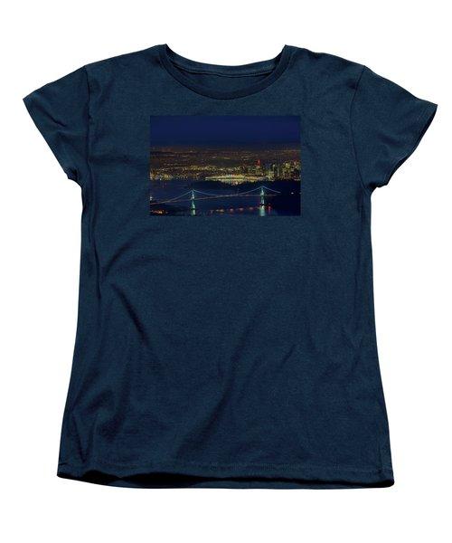 Vancouver Bc Cityscape By Lions Gate Bridge Women's T-Shirt (Standard Fit)