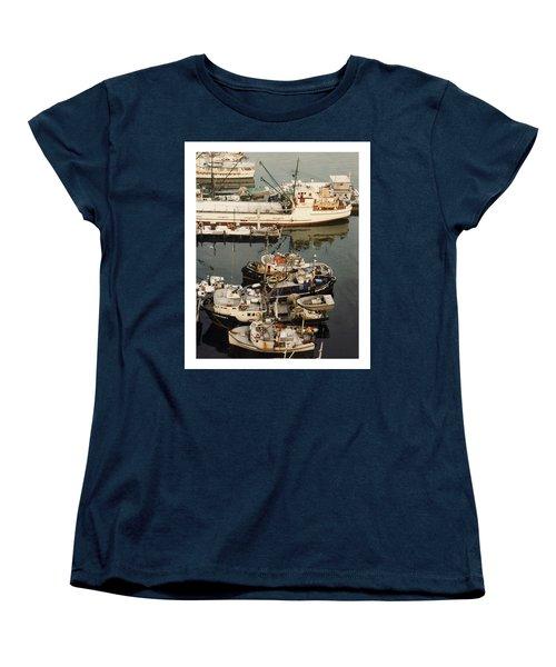 Women's T-Shirt (Standard Cut) featuring the photograph Vancouver Harbor Fishin Fleet by Jack Pumphrey