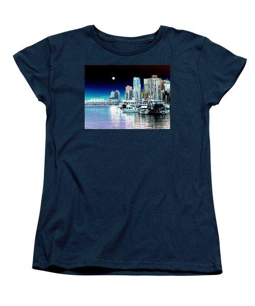 Vancouver Harbor Moonrise  Women's T-Shirt (Standard Cut) by Will Borden