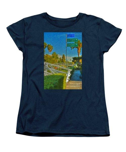 Women's T-Shirt (Standard Cut) featuring the photograph Venice Canal Bridge Signs by David Zanzinger