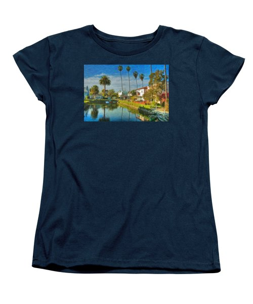Women's T-Shirt (Standard Cut) featuring the photograph Venice Canal Houses Watercolor  by David Zanzinger