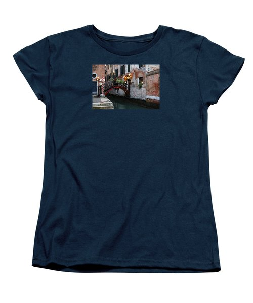 Venice Italy - The Cheerful Christmassy Restaurant Entrance Bridge Women's T-Shirt (Standard Cut) by Georgia Mizuleva