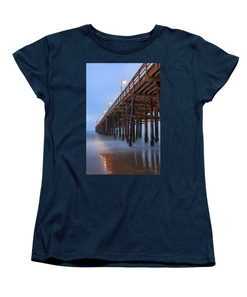 Women's T-Shirt (Standard Cut) featuring the photograph Ventura Ca Pier At Dawn by John A Rodriguez