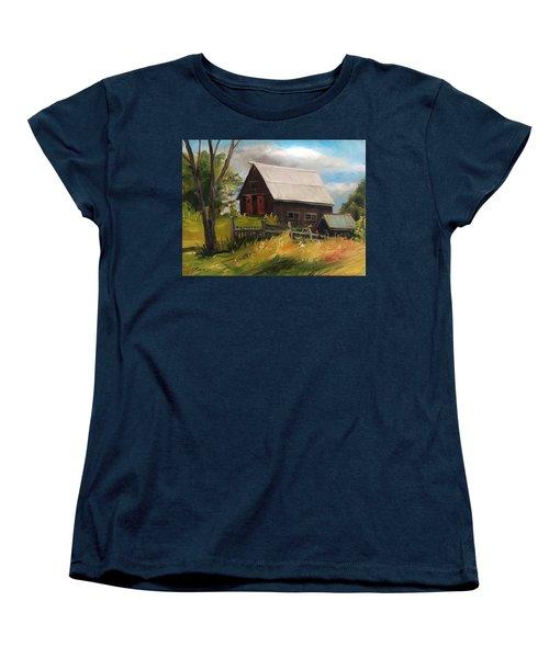 Vermont Barn Women's T-Shirt (Standard Cut) by Nancy Griswold