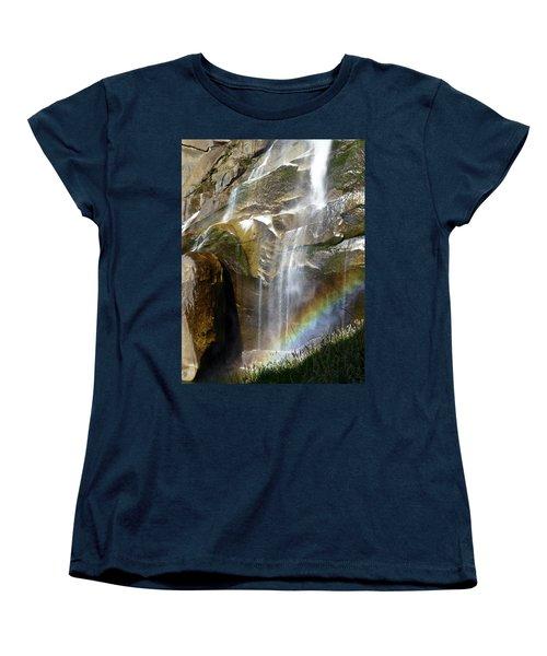 Vernal Falls Rainbow And Plants Women's T-Shirt (Standard Cut) by Amelia Racca