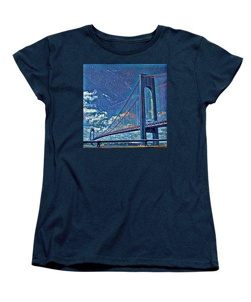 Verrazano Bridge Women's T-Shirt (Standard Cut) by Rita Tortorelli