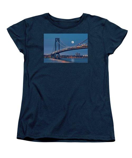 Women's T-Shirt (Standard Cut) featuring the photograph Verrazano Narrows Bridge Moon by Susan Candelario