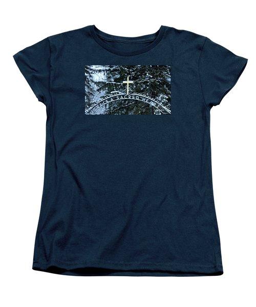 Villa Sacred Heart Winter Retreat Golden Cross Women's T-Shirt (Standard Cut) by John Stephens