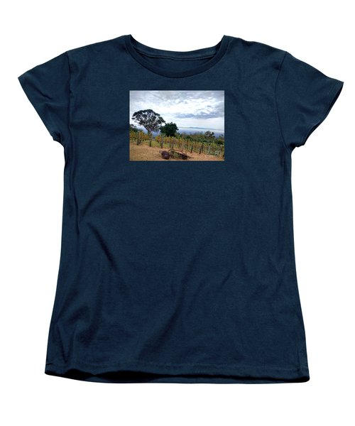 Women's T-Shirt (Standard Cut) featuring the photograph Vineyard Over The City by Haleh Mahbod