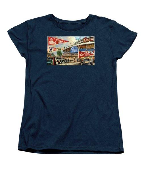Vintage Chicago Cubs Women's T-Shirt (Standard Cut) by Steven Parker