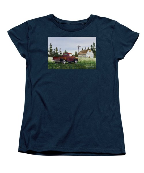 Women's T-Shirt (Standard Cut) featuring the painting Vintage Country Pickup by James Williamson