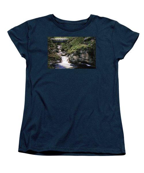 Vintage Covered Bridge And Waterfall Women's T-Shirt (Standard Cut) by Jason Moynihan