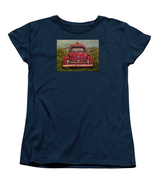 Women's T-Shirt (Standard Cut) featuring the painting Vintage  Ford Fire Truck by Belinda Lawson