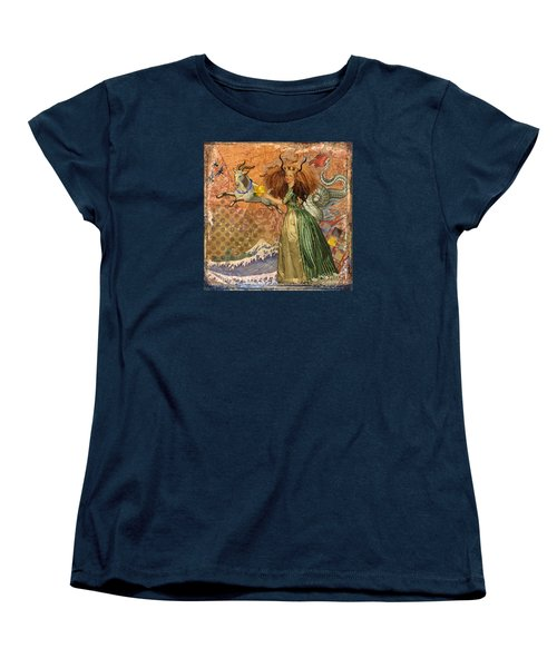 Vintage Golden Woman Capricorn Gothic Whimsical Collage Women's T-Shirt (Standard Cut) by Mary Hubley
