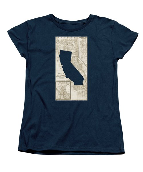 Women's T-Shirt (Standard Cut) featuring the drawing Vintage Map Of California Phone Case by Edward Fielding