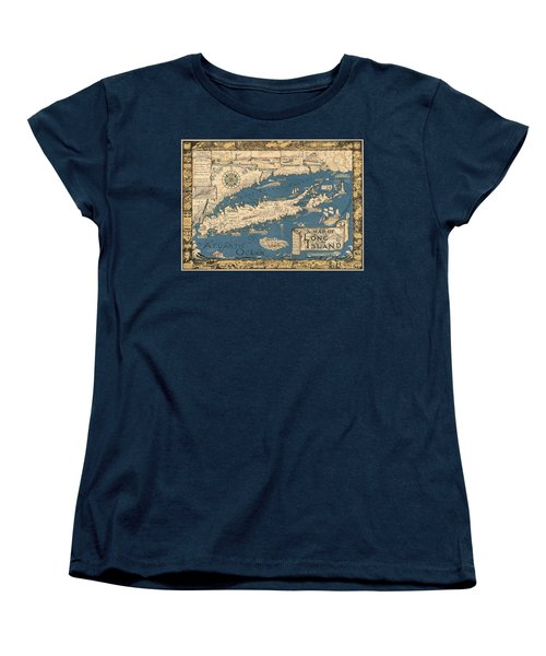 Vintage Map Of Long Island Women's T-Shirt (Standard Cut) by James Kirkikis