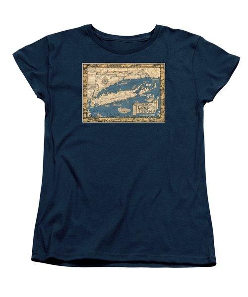 Vintage Map Of Long Island Women's T-Shirt (Standard Cut)