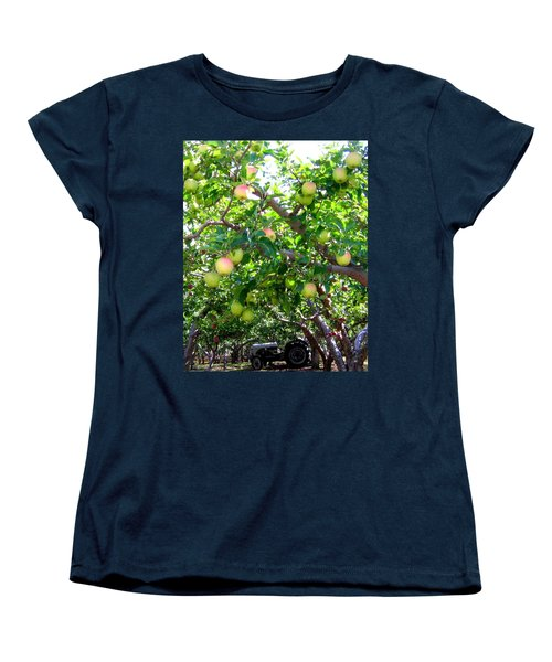 Vintage Tractor In Apple Orchard Women's T-Shirt (Standard Cut) by Will Borden
