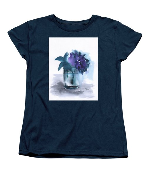 Violets In A Glass Abstract Women's T-Shirt (Standard Cut) by Frank Bright