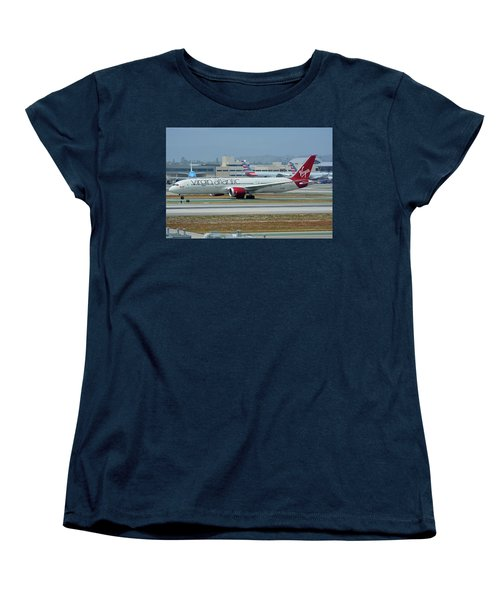 Women's T-Shirt (Standard Cut) featuring the photograph Virgin Atlantic Boeing 787-9 G-vzig Los Angeles International Airport May 3 2016 by Brian Lockett