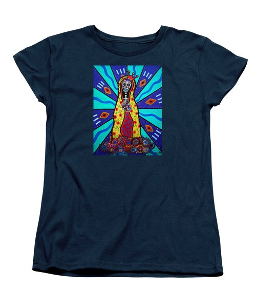 Virgin Guadalupe Day Of The Dead Women's T-Shirt (Standard Cut) by Pristine Cartera Turkus
