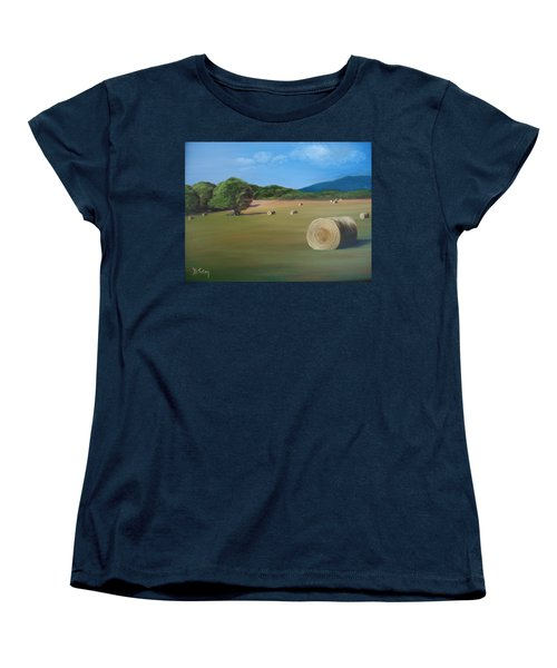 Women's T-Shirt (Standard Cut) featuring the painting Virginia Hay Bales by Donna Tuten