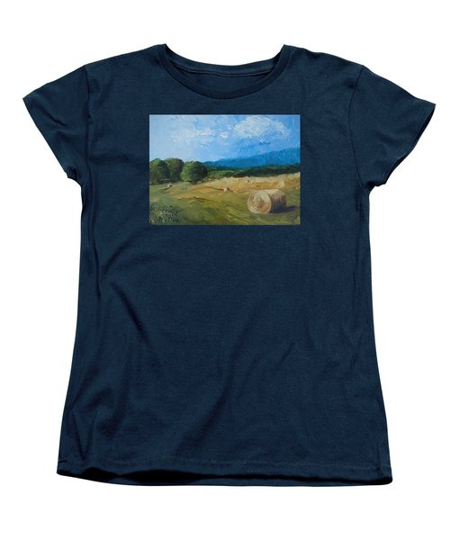 Women's T-Shirt (Standard Cut) featuring the painting Virginia Hay Bales II by Donna Tuten