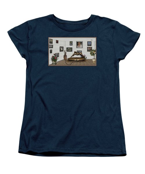 Virtual Exhibition -statue Of Girl Women's T-Shirt (Standard Cut) by Pemaro