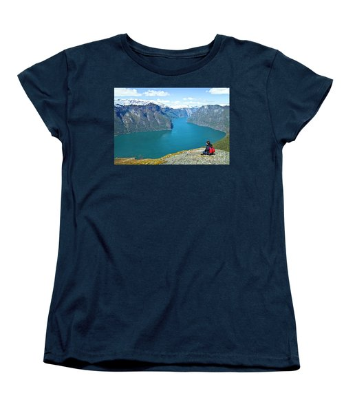 Visitor At Aurlandsfjord Women's T-Shirt (Standard Cut) by Heiko Koehrer-Wagner