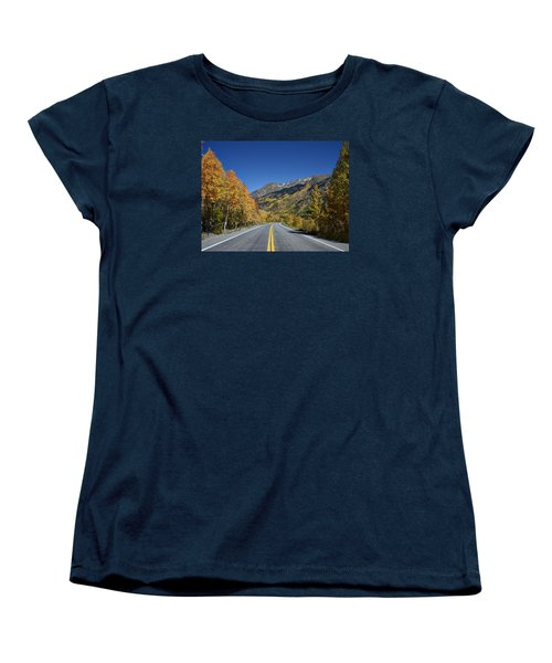 Vivid Fall Colors On The Million-dollar Highway In San Juan County In Colorado  Women's T-Shirt (Standard Cut) by Carol M Highsmith