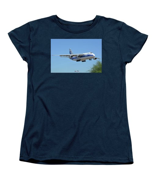 Women's T-Shirt (Standard Cut) featuring the photograph Volga-dnepr An-124 Ra-82068 Landing Phoenix Sky Harbor June 15 2016 by Brian Lockett