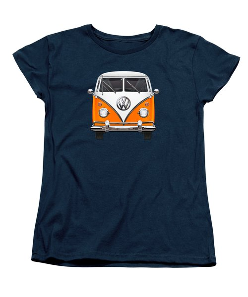 Volkswagen Type - Orange And White Volkswagen T 1 Samba Bus Over Blue Canvas Women's T-Shirt (Standard Cut) by Serge Averbukh