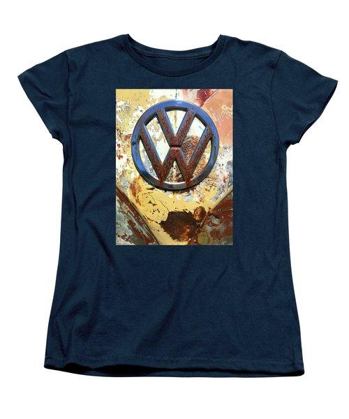 Vw Volkswagen Emblem With Rust Women's T-Shirt (Standard Cut) by Kelly Hazel