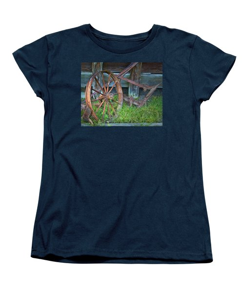 Women's T-Shirt (Standard Cut) featuring the photograph Wagon Wheel And Fence by David and Carol Kelly