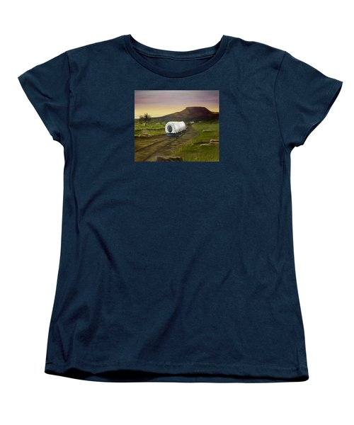Women's T-Shirt (Standard Cut) featuring the painting Wagons West by Sheri Keith