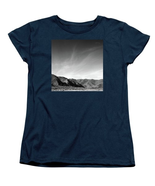 Women's T-Shirt (Standard Cut) featuring the photograph Wainui Hills Squared In Black And White by Joseph Westrupp